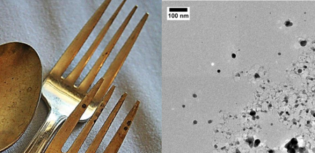 An experiment you could do at home (if you have your very own electron microscope)! Sterling silver forks release small quantities of silver NPs into the surrounding environment.