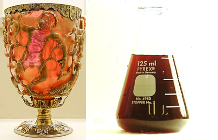 Roman colloidal gold. (L) The Lycurgus cup. Gold and silver nanoparticles in the glass make for some fantastic and very unique color effects. (R) A solution of gold nanoparticles in water. Some people still drink this as a health tonic. I wouldn't recommend it.