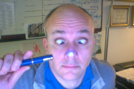 This is what a low-powered laser looks like when pointed at a my nose!