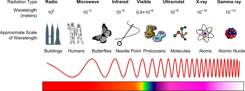Visible light is just a kind of electromagnetic radiation that our eyes can detect. The visibility of this radiation depends on its size, or wavelength. Electromagnetic radiation can vary in wavelength from as large as a building to as small as the nucleus at the center of an atom.