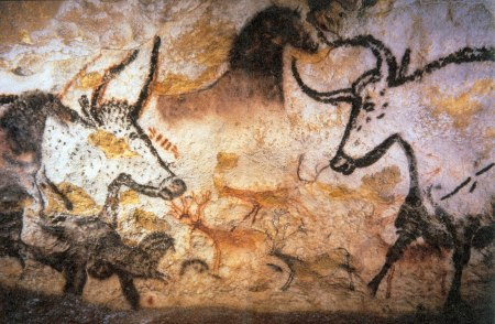 17,000-year old cave paintings from the Lascaux caves in southwestern France. The pigment's resemblance of soot is no accident. Image source.