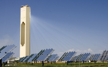 A Solar Tower—one of many kinds of solar energy collection devices made possible through science and engineering. Image source.