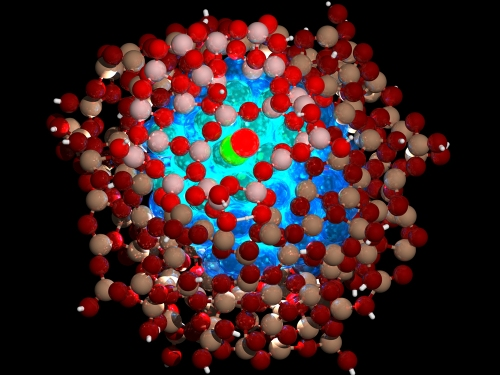 An atomic-level representation of a coated nanoparticle. The blue on the inside is the core of the nanoparticle and the red spheres are the protective coating. Image source.