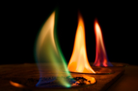 Metal salts giving off their colors when in a flame. Also known as a flame test. From L to R, copper chloride, sodium chloride, and strontium chloride. Image source.