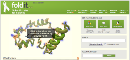 Screenshot of the FoldIt homepage.
