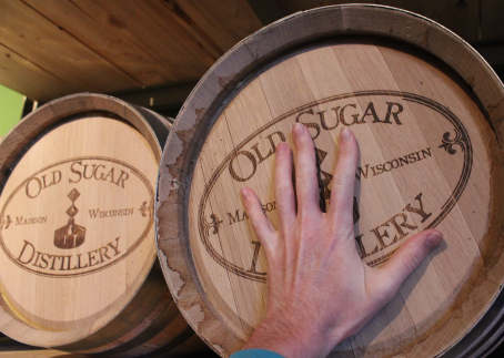 Tiny 5-gallon barrels, with my hand for scale.