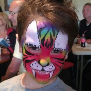 Awesome rainbow tiger facepaint: recommended. Using gold nanoparticles to do it: not recommended.