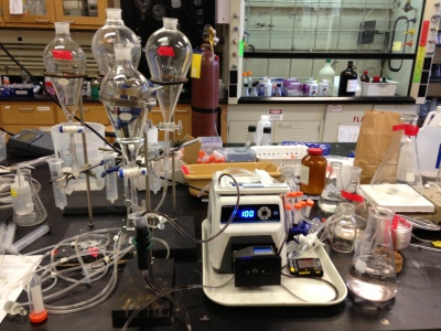 This is a crazy device Sam made that purifies nanoparticles. This thing is AMAZING!