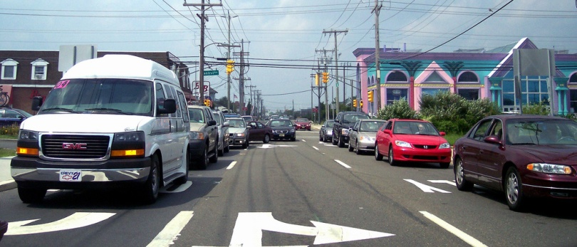 Source: http://en.wikipedia.org/wiki/File:NJ_72_Long_Beach_Blvd.jpg Caption: If electrons were cars, this would be an n-type material, with cars ready to move forward towards the open road (the p-type material).