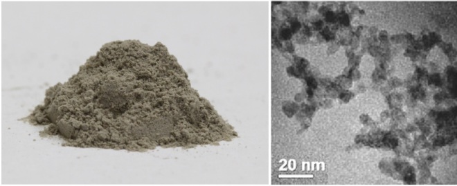 Left: a photo of the nanodiamond powder that we use in our experiments. Right: an image of individual nanodiamonds clumped together, at ~1,000,000x magnification, acquired using a transmission electron microscope.