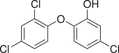 The chemical structure of our chemical of interest, triclosan