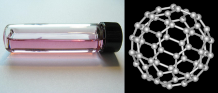 C60 in solution, along with its atomic structure.