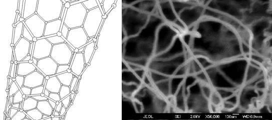 Left: Carbon nanotube atomic structure. Image source http://en.wikipedia.org/wiki/Space_elevator Right: Carbon nanotube scanning electron microscope image. Image source http://www.nano-lab.com/nanotube-image.html