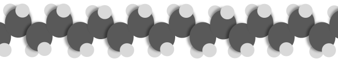A cartoon of one small segment of a polyethylene chain. The black spheres are carbon atoms, the grey spheres are hydrogen atoms.