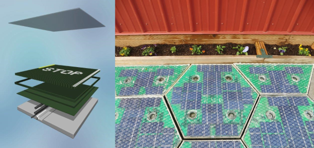 Solar Roadways panel concept, top glass layer, and actual prototype. . Image copyright Solar Roadways. http://www.facebook.com/solarroadways