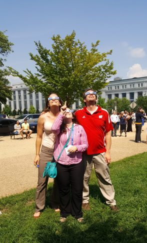 The author, xx, and CSN Managing Director Mike Schwartz watching the Eclipse in DC.
