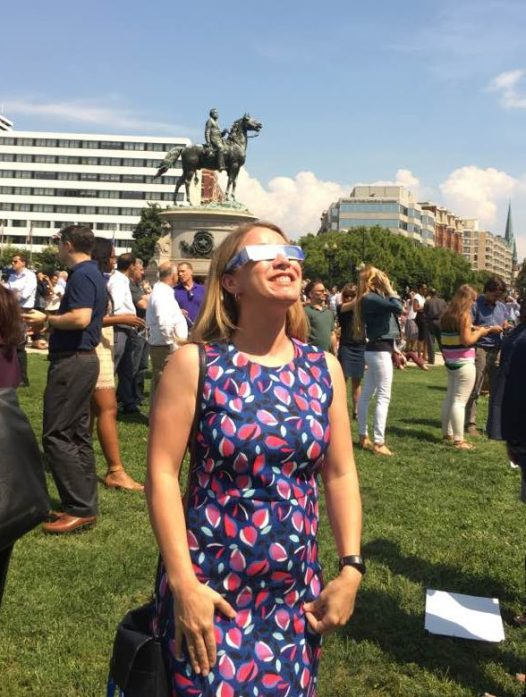 CSN Associate Director Christy Haynes watching the eclipse in Washington, DC