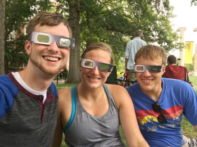 Joe, Brittany, & Zach showing off their eclipse fashion in Columbia, Missouri (image by Joe Buchman)