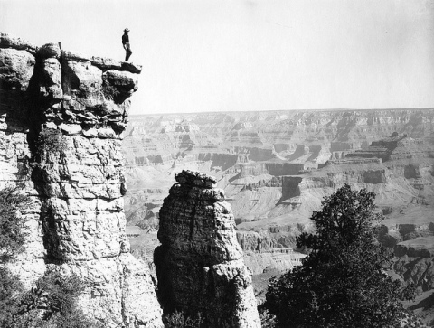 Person looking over the grand canyon