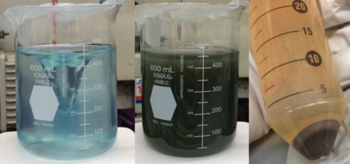 Left: beaker with light blue liquid. Middle: beaker with dark green liquid. Right: black solid at the bottom of a tube of yellow liquid.