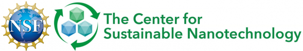 Left: blue globe logo of NSF. Right: green and blue logo of The Center for Sustainable Nanotechnology