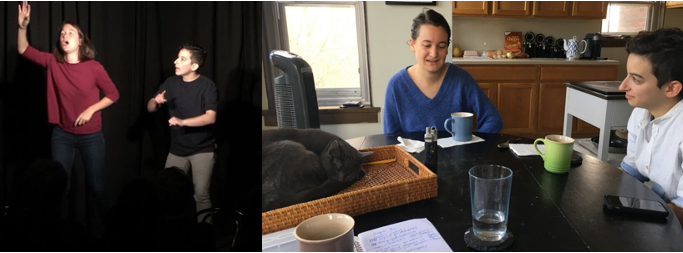 Paige Kinsley at left and Liz Laudadio at right, mid-improv performance and recording the interview for this episode, along with Blue the cat.