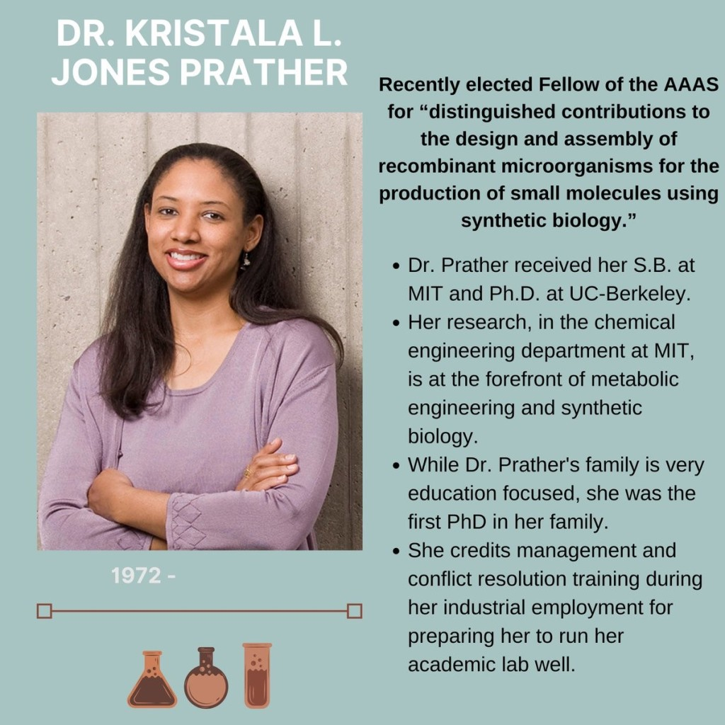 "Doctor Kristala L. Jones Prather. Born 1972 to present. She was recently elected Fellow of the AAAS for distinguished contributions to the design and assembly of recombinant microorganisms for the production of small molecules using synthetic biology."" Dr. Prather received her S.B. at MIT and Ph.D. at UC-Berkeley. Her research, in the chemical engineering department at MIT, is at the forefront of metabolic engineering and synthetic biology. While Dr. Prather's family is very education focused, she was the first PhD in her family. She credits management and conflict resolution training during conflict resolution training during her industrial employment for preparing her to run her academic lab well."