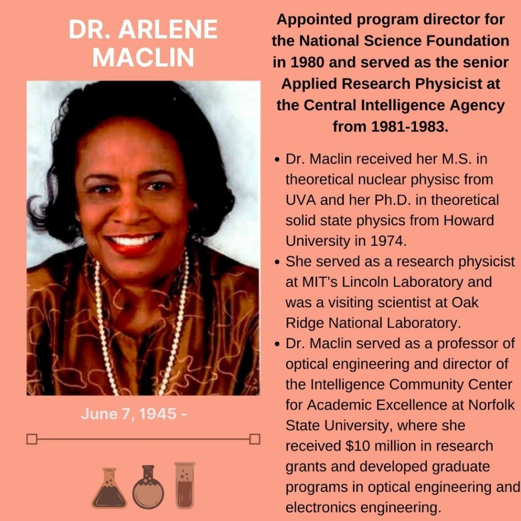Pictured is a smiling, short-haired black woman wearing pearls and red lipstick. Text states the following: Doctor Arlene Maclin. Born June seventh, 1945 to present. Appointed program director for the National Science Foundation in 1980 and served as the senior Applied Research Physicist at the Central Intelligence Agency from 1981 to 1983. Doctor Maclin received her M.S. in theoretical nuclear physics from UVA and her Ph.D. in theoretical solid-state physics from Howard University in 1974. She served as a research physicist at MIT's Lincoln Laboratory and was a visiting scientist at Oak Ridge National Library. Doctor Maclin served as a professor of optical engineering and director of Intelligence Community Center for Academic Excellence at Norfolk State University where she received ten million dollars in research grants and developed graduate programs in optical engineering and electronics engineering.