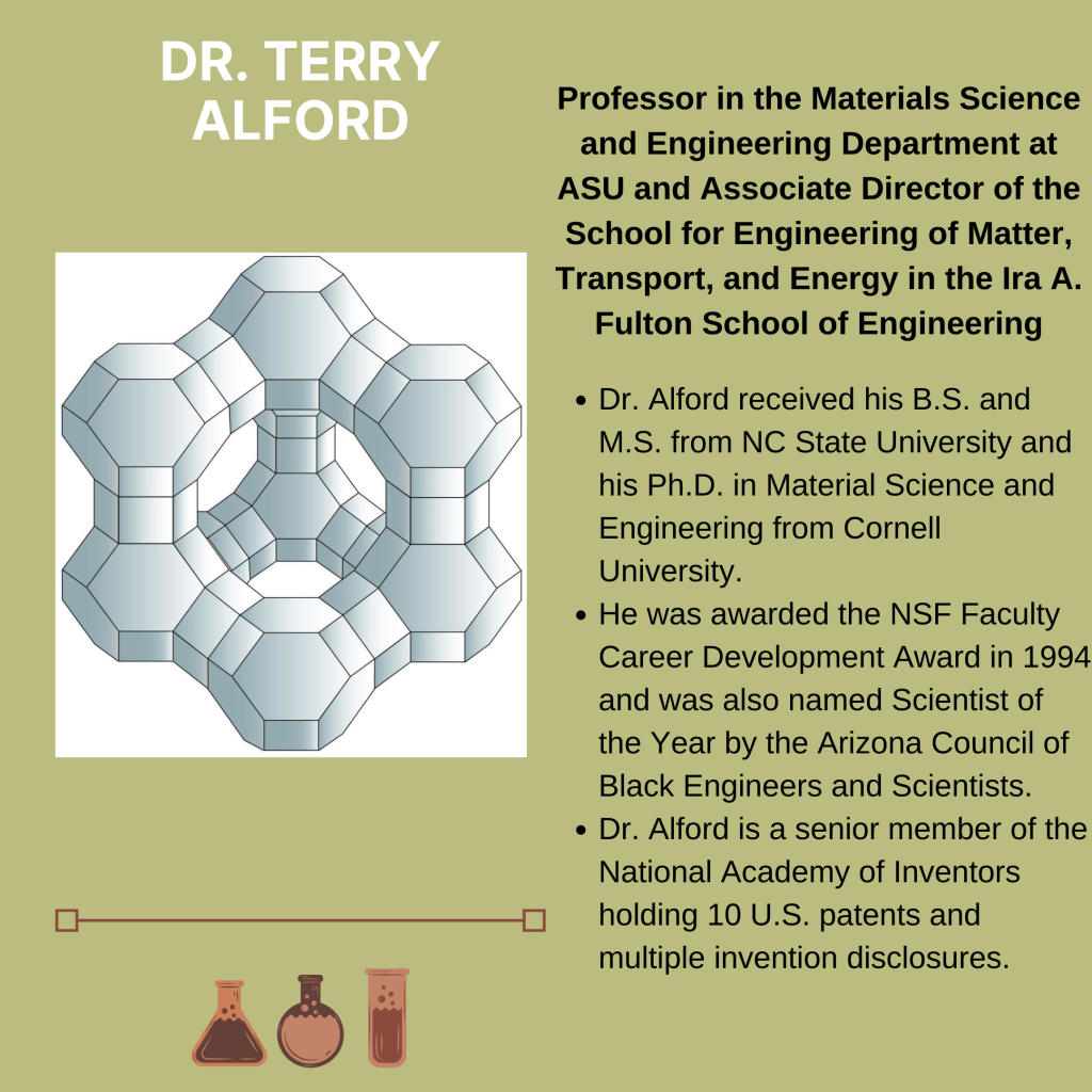 Pictured is an illustration of three-dimensional hexagon. Text states the following: Terry Alford. Professor in the Materials Science and Engineering Department at ASU and Associate Director of the School for Engineering of Matter, Transport, and Energy in the Ira A. Fulton School of Engineering. Dr. Alford received his B.S. and M.S. from NC State University and his Ph.D. in Material Science and Engineering from Cornell University. He was awarded the NSF Faculty Career Development Award in 1994 and was also named Scientist of the Year by the Arizona Council of Black Engineers and Scientists. Dr. Alford is a senior member of the National Academy of Inventors holding 10 U.S. patents and multiple invention disclosures.