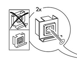 Pictured is an image from an Ikea furniture guide showing how to screw in a screw.