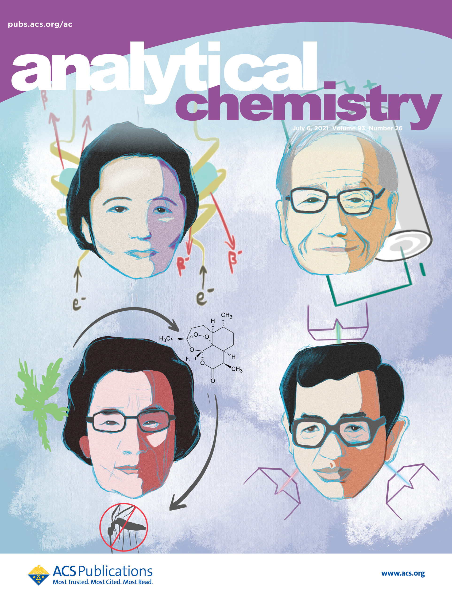 Artwork depicting four Asian scientists, four scientists illustrated on the cover, Dr. Chien-Shiung Wu, Dr. Akira Yoshino, Dr. Youyou Tu, and Dr. Yuan T. Lee, along with sketches of their areas of research, incorporated into a cover of the journal Analytical Chemistry