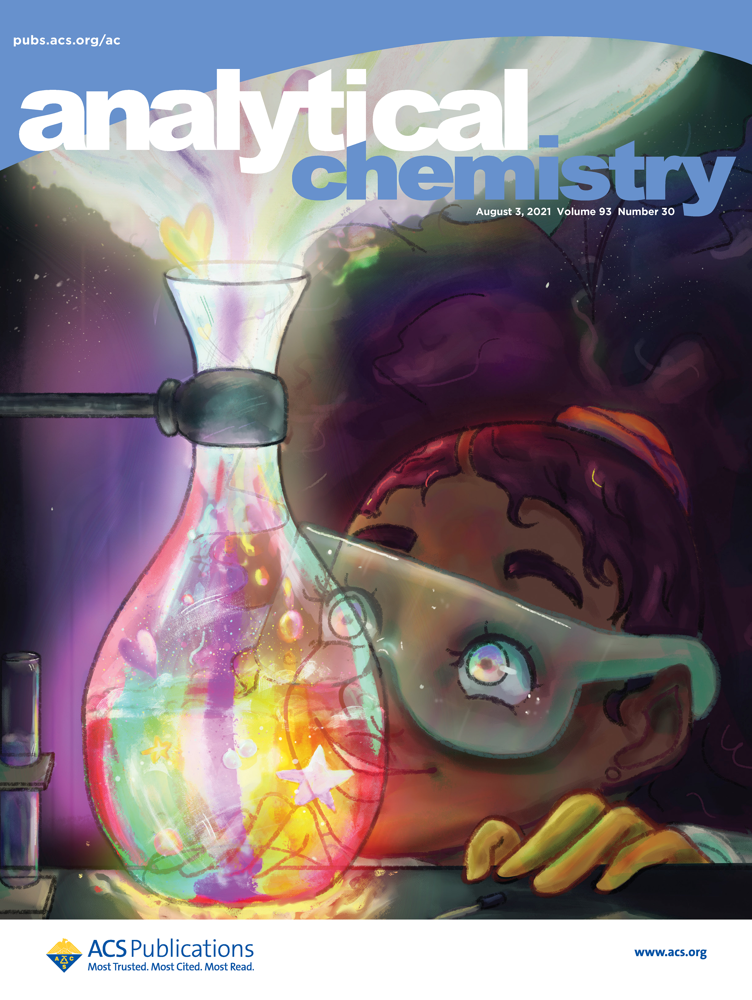 Digital painting of a smiling Black girl wearing safety goggles and gazing eagerly at a chemistry flask full of bright colors.