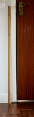 A picture of a meter stick against a door. The stick rises to the height of the door handle from the ground.
